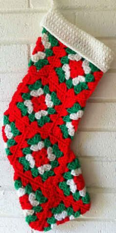 "Best Free Crochet » Red Granny Square Christmas Stocking – Free Crochet Pattern  email confirmation required to access free pattern  Materials: Worsted Weight Yarn: Red, Green & White. Crochet Hook: Size G-6 (4.25 mm) or size needed to obtain gauge. Gauge: Each granny square measures 4"" across."