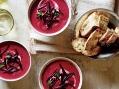 Purple soup! Fun for the kids, healthy option for parents! Beet, Ginger, and Coconut Milk Soup Recipe | Epicurious.com