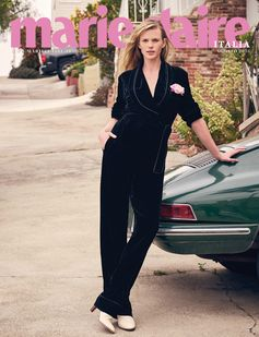 Hitting the road in style on the latest MarieClaire.it cover featuring a Fendi PreFall 2016 velvet jumpsuit.