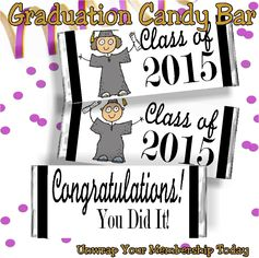 Whether it's a High School Graduate, a college graduate, a Kindergarten graduate, a Middle School graduate, or someone graduating from one grade to the next, there is someone in your life who would love to receive this fun graduation candy bar wrapper.