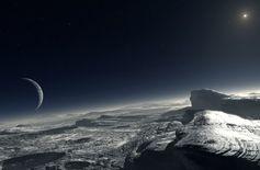 PLUTO Y CARONTE ¡CUÁN EXTRAÑA PAREJA!// Qué espectáculo sombrío y fascinante estar sobre la superficie helada del planeta Plutón viendo a Caronte por encima o acaso por delante (según la posición respecto al eje que une a los dos en barra de forzudo) como un enorme globo amenazante colgado en cielos de un punto permanente sin por jamás ponerse en horizonte. Pluto y Caronte, ¡cuán extraña pareja viajera por el éter solit… (Ver ➦) http://albertotroconiz.blogspot.com.es/2015/07/pluto-y-caronte.html
