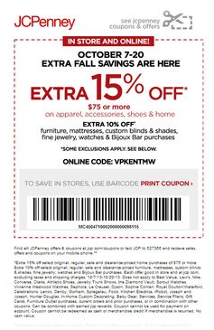 JCPenney: 15% off Apparel Printable Coupon