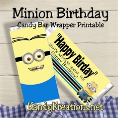 With all the summer movies out, there are sure to be some good memories to be made.  Go see your favorite Minions this weekend with the kids and  celebrate with this fun Minions Birthday Candy Bar Wrapper.