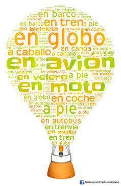 Nube de palabras sobre los transportes | Más materiales en www.profedeele.es y www.fb.com/PracticamosEspanol