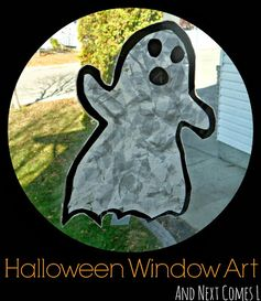 Simple Halloween window art for kids from And Next Comes L