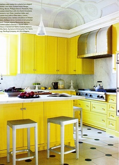yellow kitchen  too  bright yellow for me!
