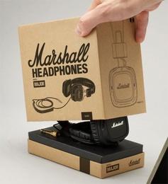 Marshall Headphones; packaging in a cardboard box, super elegant.