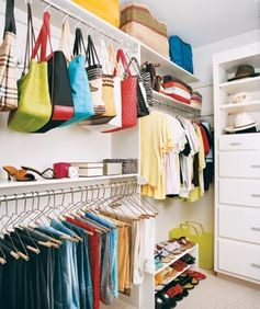 Group clothing by category―dress pants, jeans, casual shirts, work tops―to make putting together outfits easier.