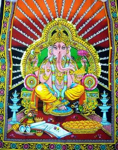 Big indian Batik Art Hindu Lord Ganesha Ganpati red valentine wall #tapestries painted sequin #home #garden #decor #prosperity #yoga #peace