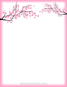 cherry blossom border Beach Borders For Word Documents