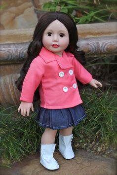 New Arrival! Salmon Coat Set that fits American Girl. $14.95 at www.harmonyclubdolls.com