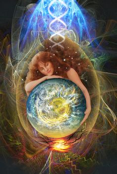 The Art of Gaelyn Larrick    In this image is the representation of the dynamic dance of Gaia's evolution. As the earth is transforming through elemental alchemy, so too are we bringing our hearts and minds into harmonic resonance in recognition of our Oneness.