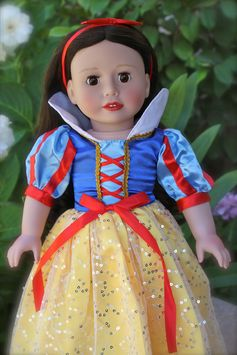 Harmony Club Doll, Melody Rose, dressed as Snow White. Visit Melody Rose and this fits American Girl Snow White outfit at www.harmonyclubdolls.com