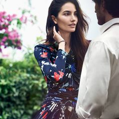 From the Ferragamo Spring 2017 runway collection, the contemporary floral dress. Sleekly tailored with delicate ruching, it features lush blooms more cool than sweet. bit.ly/FerragamoWomenSS17