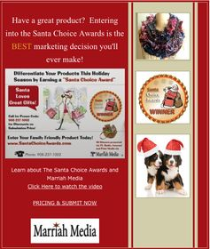Entering to win a Santa Choice Award is the BEST Marketing decision you can make!