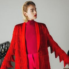 Fringe fever! Tailoring gets vocal with clashing tones of red and pink.  Discover the new collection at #StellaMcCartney.com