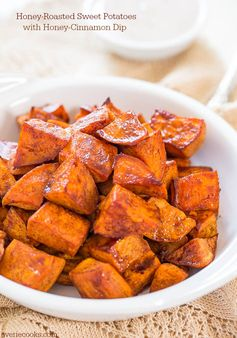 Honey-Roasted Sweet Potatoes with Honey-Cinnamon Dip - A delicious fall side.