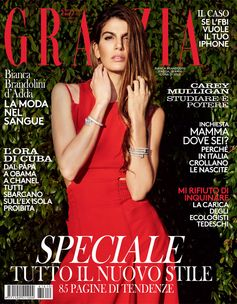 Bianca Brandolini D'Adda covers the latest issue of Grazia in a Fendi Spring/Summer 2016 dress.