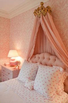 Girls bedroom decor pink shabby chic romantic polka dots plaids gold crown canopy idea