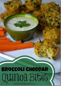 broccoli cheddar quinoa bites pin image thumb Munchkin Meals: Broccoli Cheddar Quinoa Bites