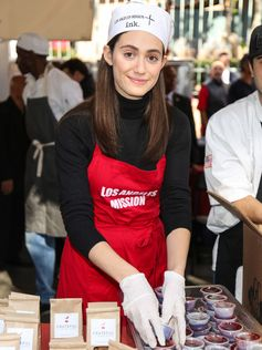 Emmy Rossum is seen attending the Los Angeles Mission Thanksgiving For The Homeless at Los Angeles Mission.