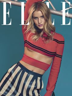 Super model Rosie Huntington-Whiteley makes stripes sexier than ever in a look from the Fendi Spring/Summer 2017 runway, featured on the January cover of Elle UK.