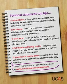 Writing a good personal statement