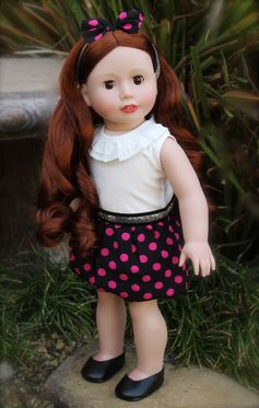 Polka Dot Dress outfit for 18 inch Dolls and American Girl. Visit Harmony Club Dolls at www.harmonyclubdolls.com