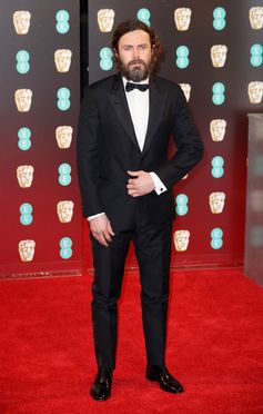 "Casey Affleck wearing Louis Vuitton to the 70th EE British Academy Film Awards (BAFTA) in London where he won ""Best Actor in a Leading Role"" for Manchester by the Sea."