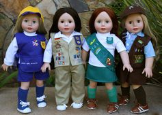 Scout Uniforms for 18 inch dolls and American Girl are at www.harmonyclubdolls.com
