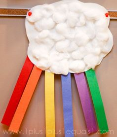 Cotton balls and paper strips - great rainy day activity (pair with the rainbow)