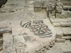 Mosaic floor ornament of late Hellenistic period at Roman agora, the archaeological site of Kourion in Cyprus. 75 - 50 BC.