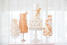 Collection of gold and white wedding cakes by Blissfully Sweet #geometric #ivory #white #metallic