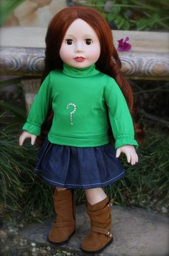 Just right for St Patrick's Day. Fits American Girl Kelly Green Skirt set and Suede 18 inch Dolls Boots. Visit Harmony Club 18 inch Dolls and shoes and clothes that fit American Girl at http://www.harmonyclubdolls.com