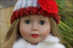 "18"" Harmony Club doll, Cadence Rose, wearing a one of a kind knit hat. Available at www.harmonyclubdolls.com"
