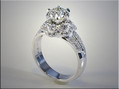 14K White Gold Custom Vintage Engagement Ring. Designed and made by Tim Frank.