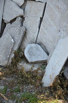 Ottoman cemetery headstones from the antik kent of Smyrna,1400AC