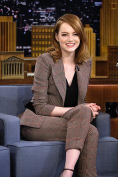 A beaming Emma Stone, in Giorgio Armani, at 'The Tonight Show Starring Jimmy Fallon' last night in New York City. #ArmaniStars