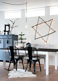 A Contemporary Rustic Lighted Star of David