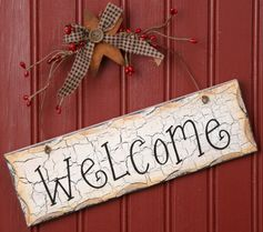 8W1084-Welcome Hanging Sign   9 1/2