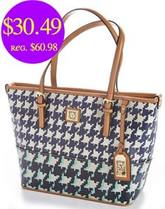 Boscov's:  Anne Klein Houndstooth Tote = $30.49 + FREE Shipping! Regularly $60.98!
