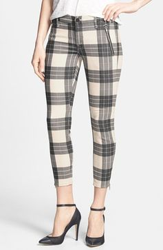 MOTHER 'Crop Zip Muse' Plaid Skinny Pants available at #Nordstrom