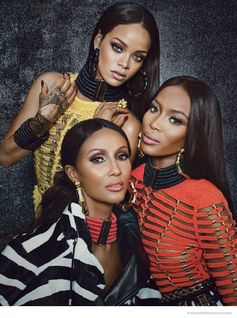 iman rihanna naomi campbell shoot02 Rihanna! Iman! Naomi! The Super Stars in Balmain for W Feature