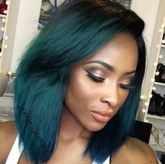 black girl with colorful hair, dark green hair, black womens inspiration, makeup