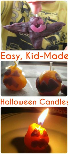 Easy kid-made halloween candles with pumpkins and bats. Simple and fun halloween craft