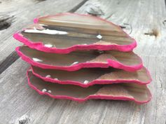 Brazilian Agate Coasters, Set of Four, Hand Painted Hot Pink Edges, Geode Slices on Etsy, $33.00