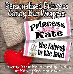 This week's wrapper is a great one to personalize for the little princess in your life.  If you have a daughter, a neice, a granddaughter, or a friend who needs a little pick me up or a birthday treat, add her name to this candy bar using your favorite graphics program and watch the smile spread across her face.