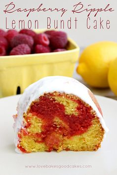 Raspberry Ripple Lemon Bundt Cake - a lemon bundt cake with a fun and yummy red raspberry ribbon layer, topped with a light raspberry glaze!...