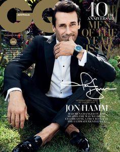 Jon Hamm, in Giorgio Armani, is one of GQ Australia's cover stars for their Men Of The Year issue, shot by Doug Inglish and styled by Trevor Stone