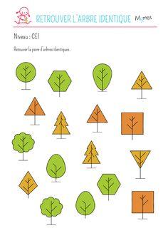 Les feuilles tombent, les arbres changent de couleur... c'est une super période pour aller se promener dans la forêt. A vous de jouer pour retrouver les deux arbres identiques à l'intérieur de ce méli-mélo !